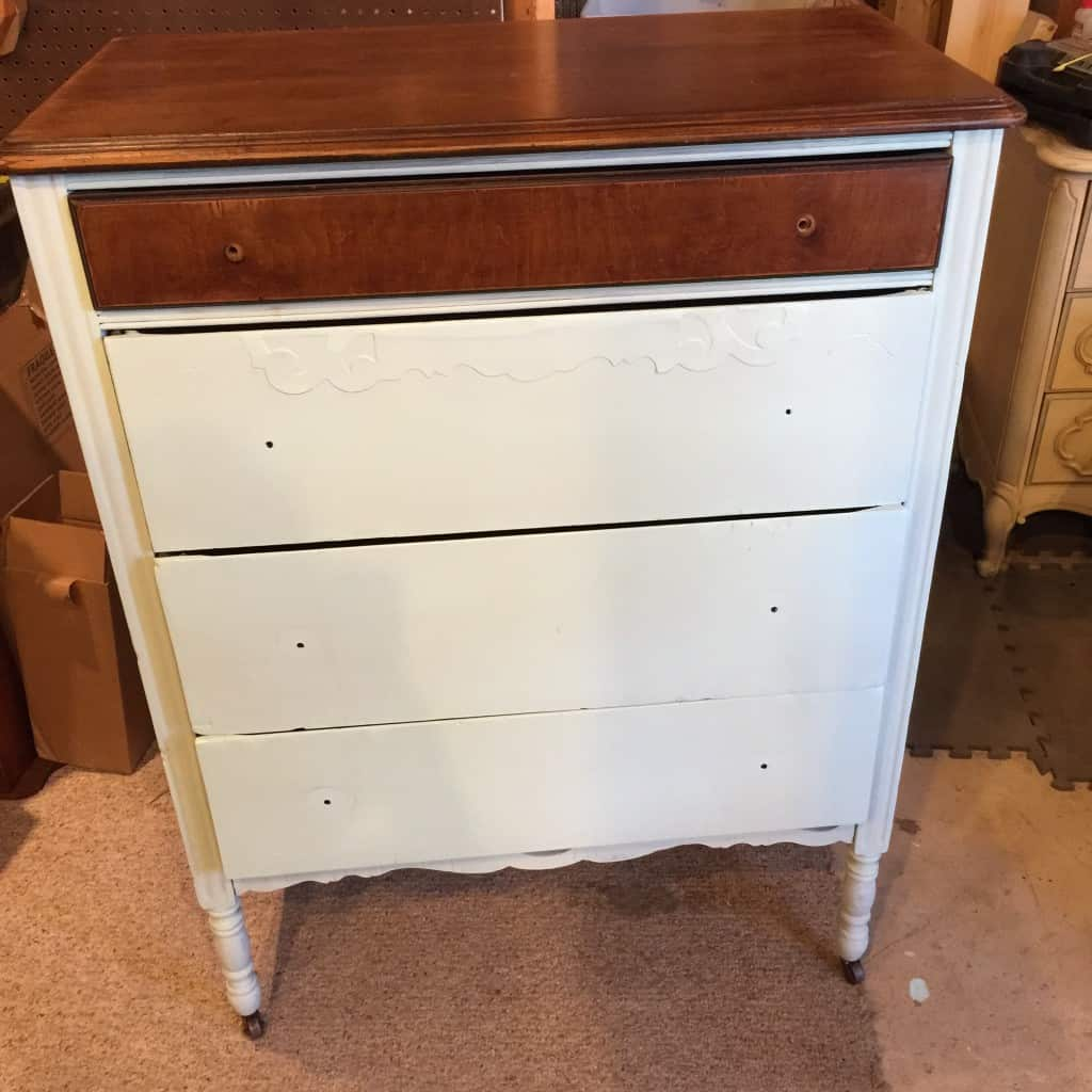 antique dresser with one coat of Shabby Paints Mojito on body. top drawer and top of dresser are still wood tone with Shabby Paints Hazelnut ReVax Stain/sealer