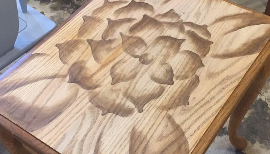 SxS flower table top before paint