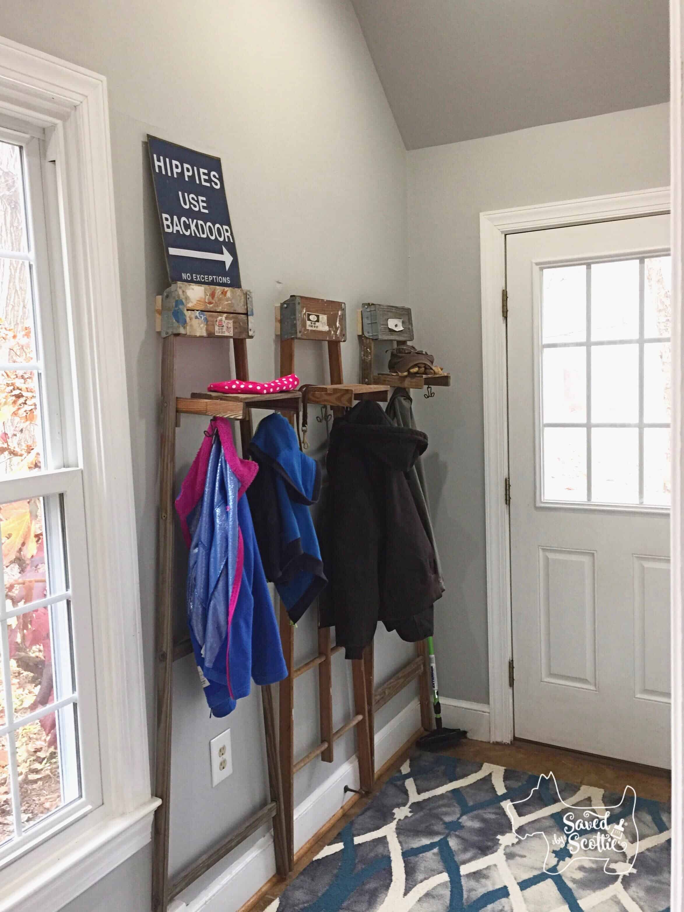 Saved by Scottie entry way transformation with ladders finished
