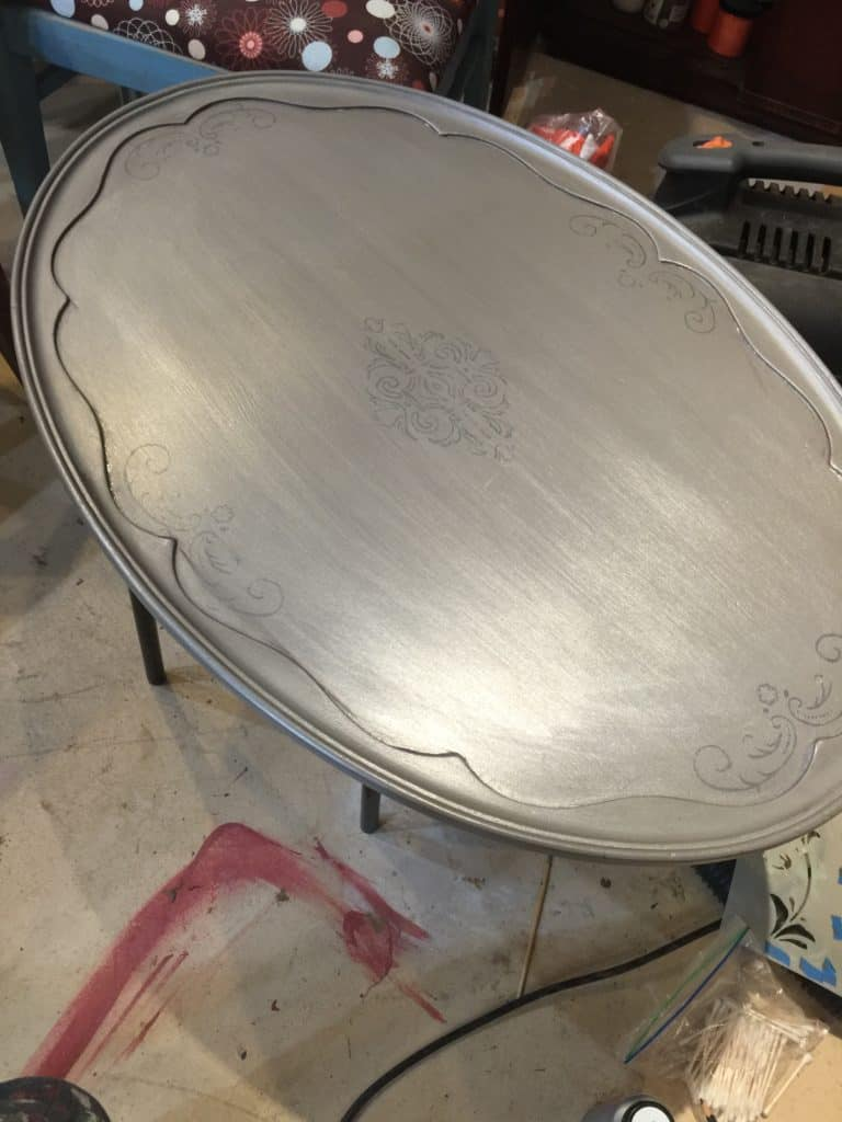 SxS silver table before aging glaze