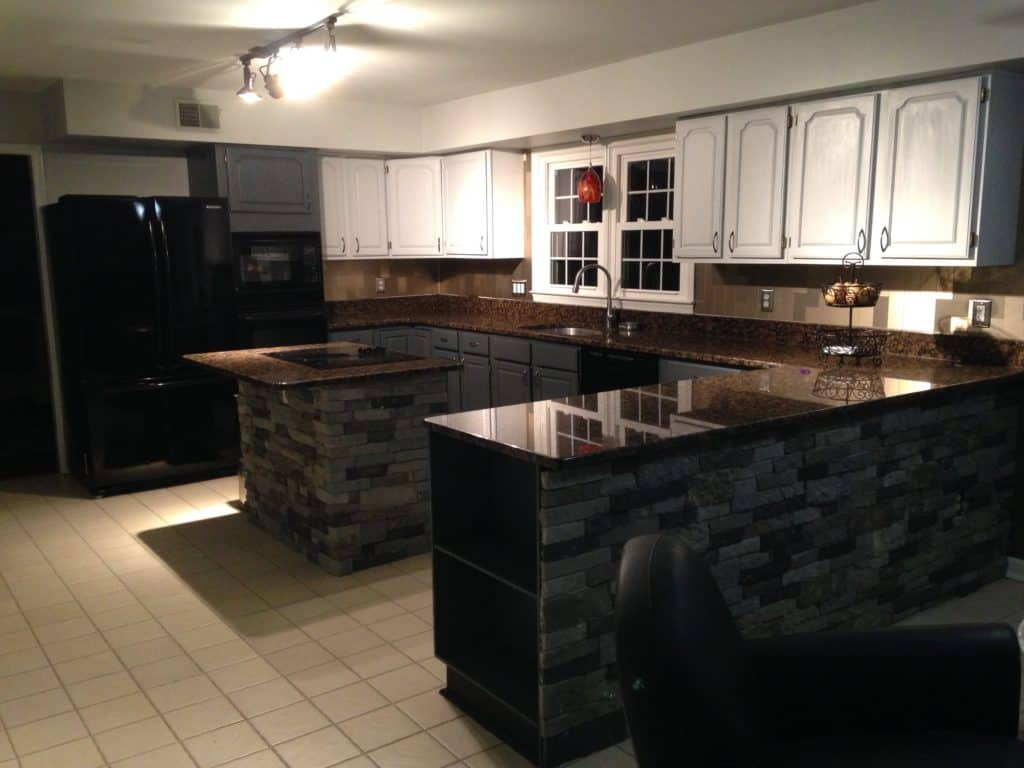 sxs full kitchen after kitchen island makeover and repainting