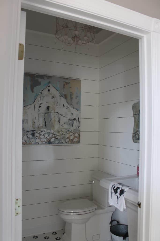 finished shot of faux shiplap bathroom