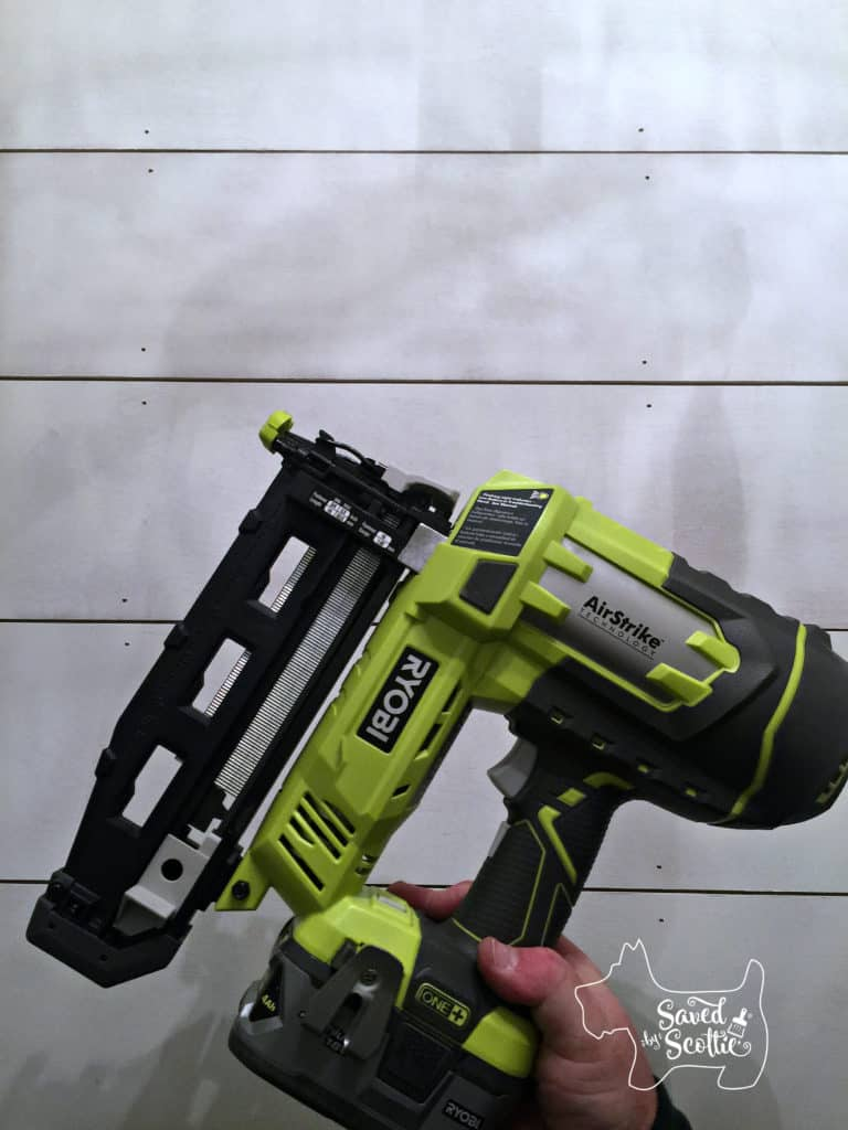 shiplap and ryboi finishing nailer in front
