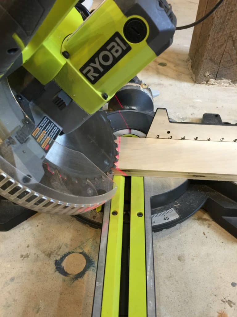 ryobi compound miter saw with pure bond plywood angle cuts using the blade bevel saved by scottie