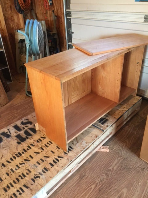 rear view of credenza before additional depth added