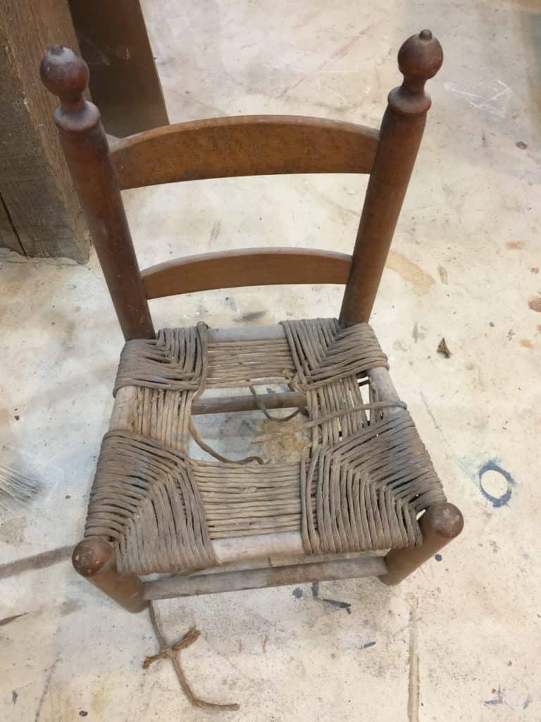 childs chair before rushing