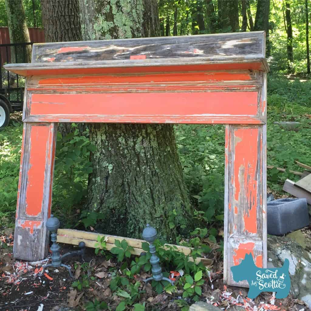 bright orange fireplace mantle outside found by Saved by Scottie