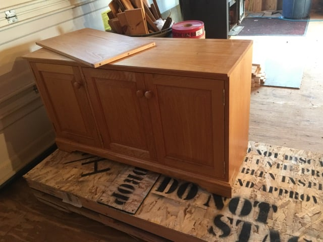 front view of office credenza before