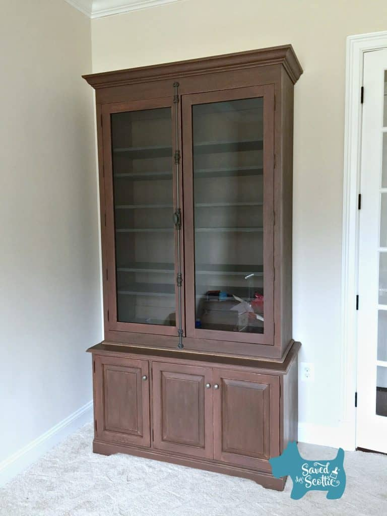 long front view of cabinet in place
