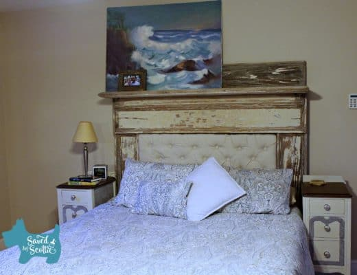 """money"" shot of finished tufted headboard in place"