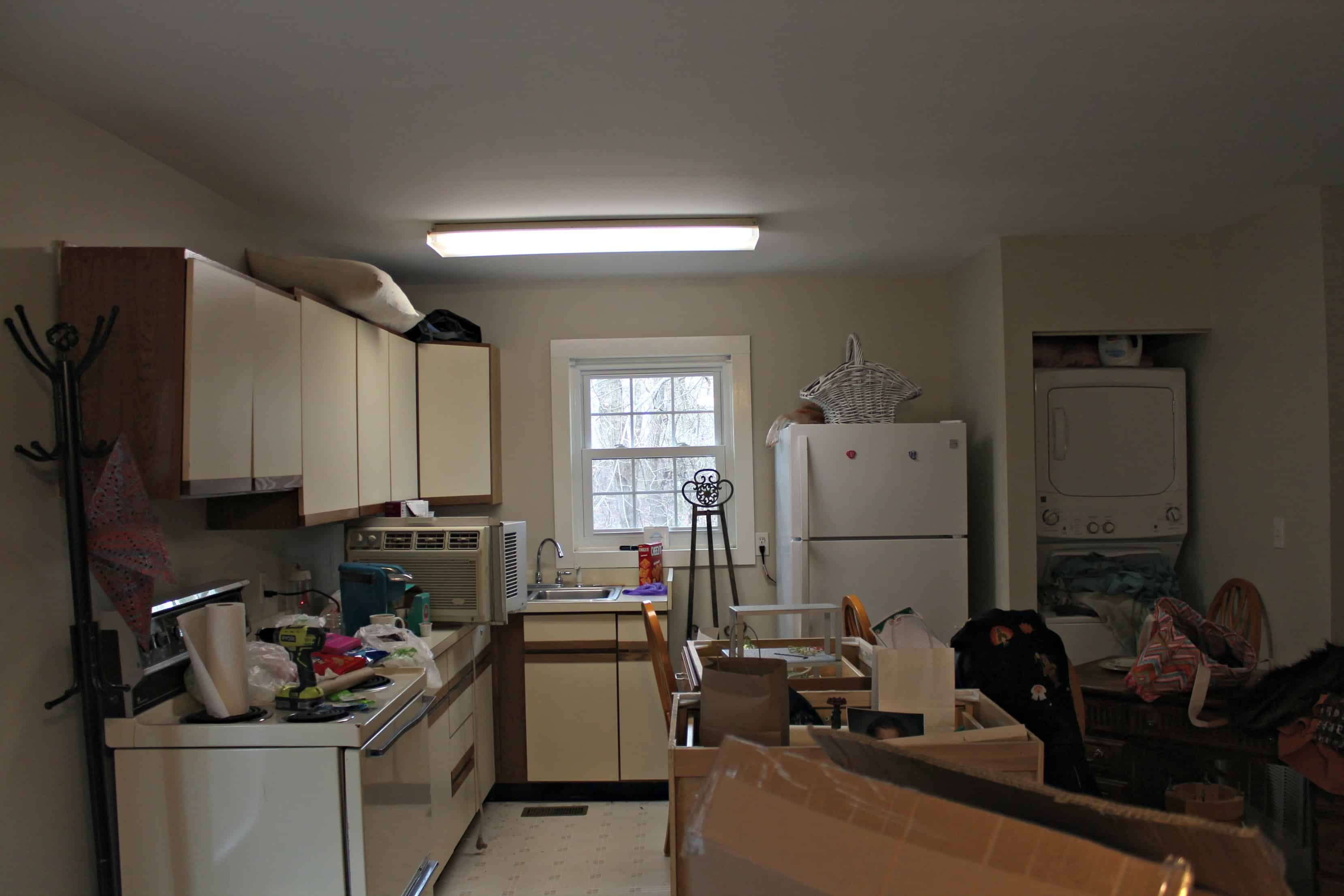 Saved by Scottie apartment kitchen full before