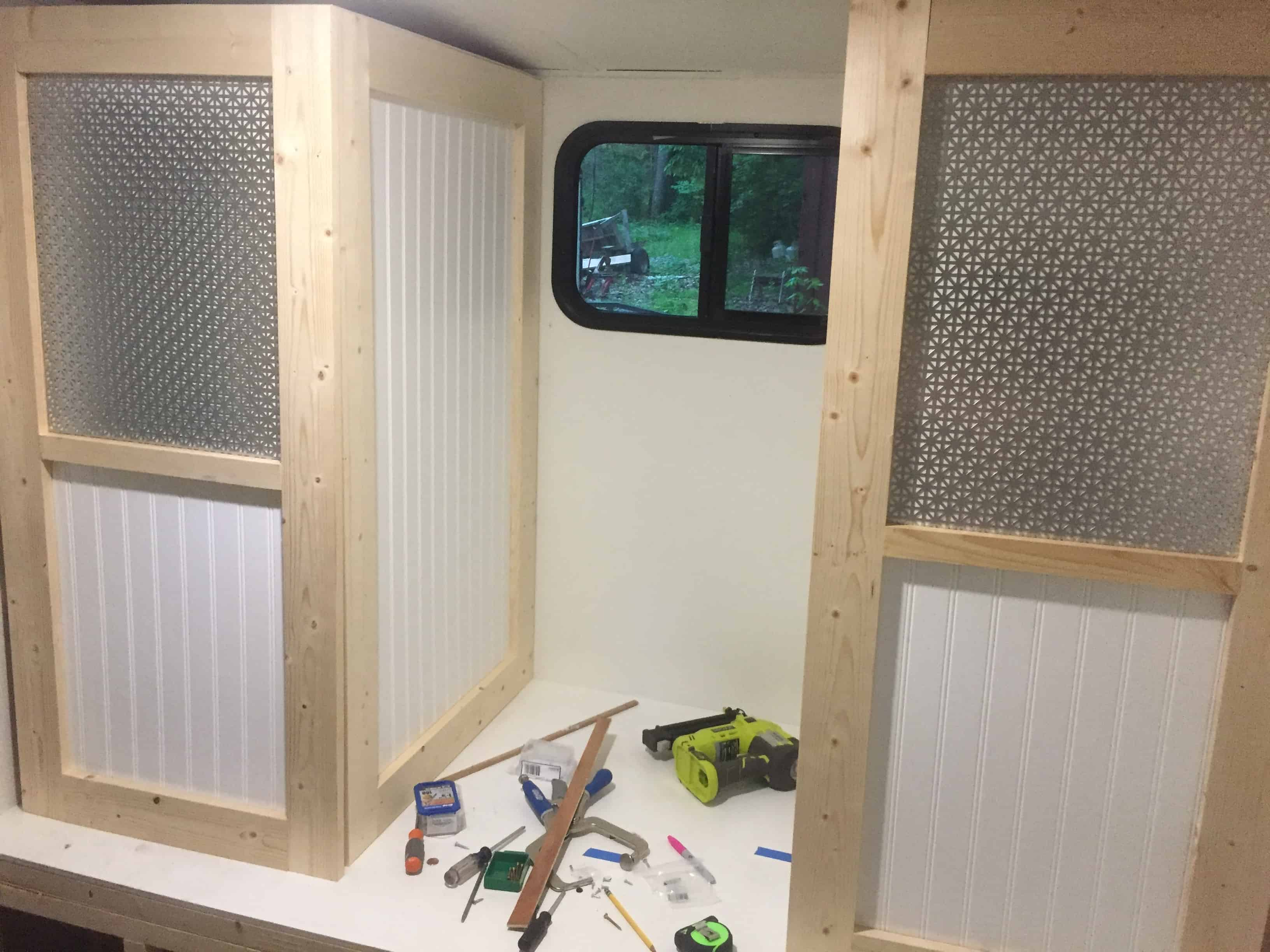 Saved by Scottie rv redo cabinet build before paint
