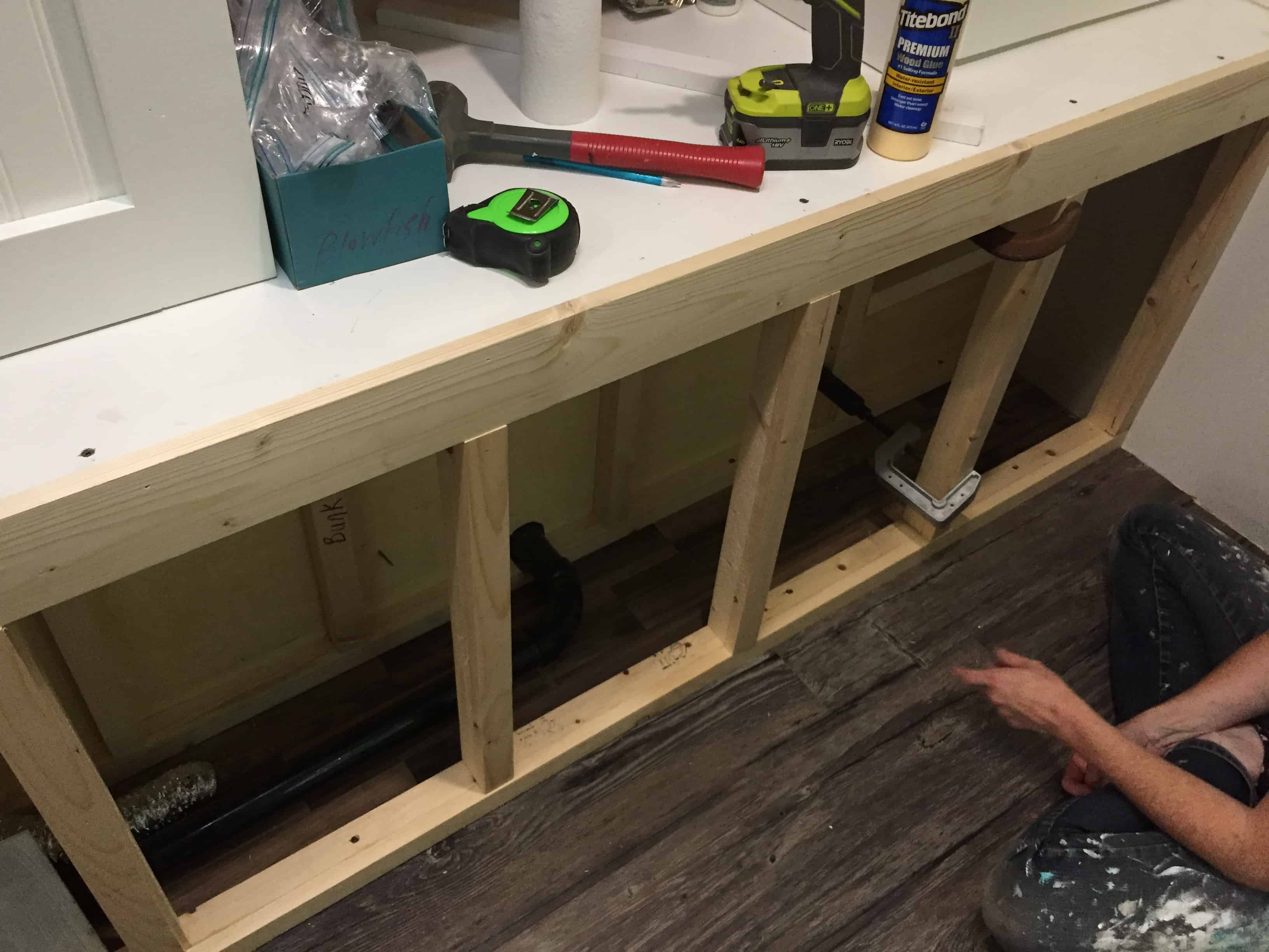 Saved by Scottie rv remodel storage cabinet build open hole