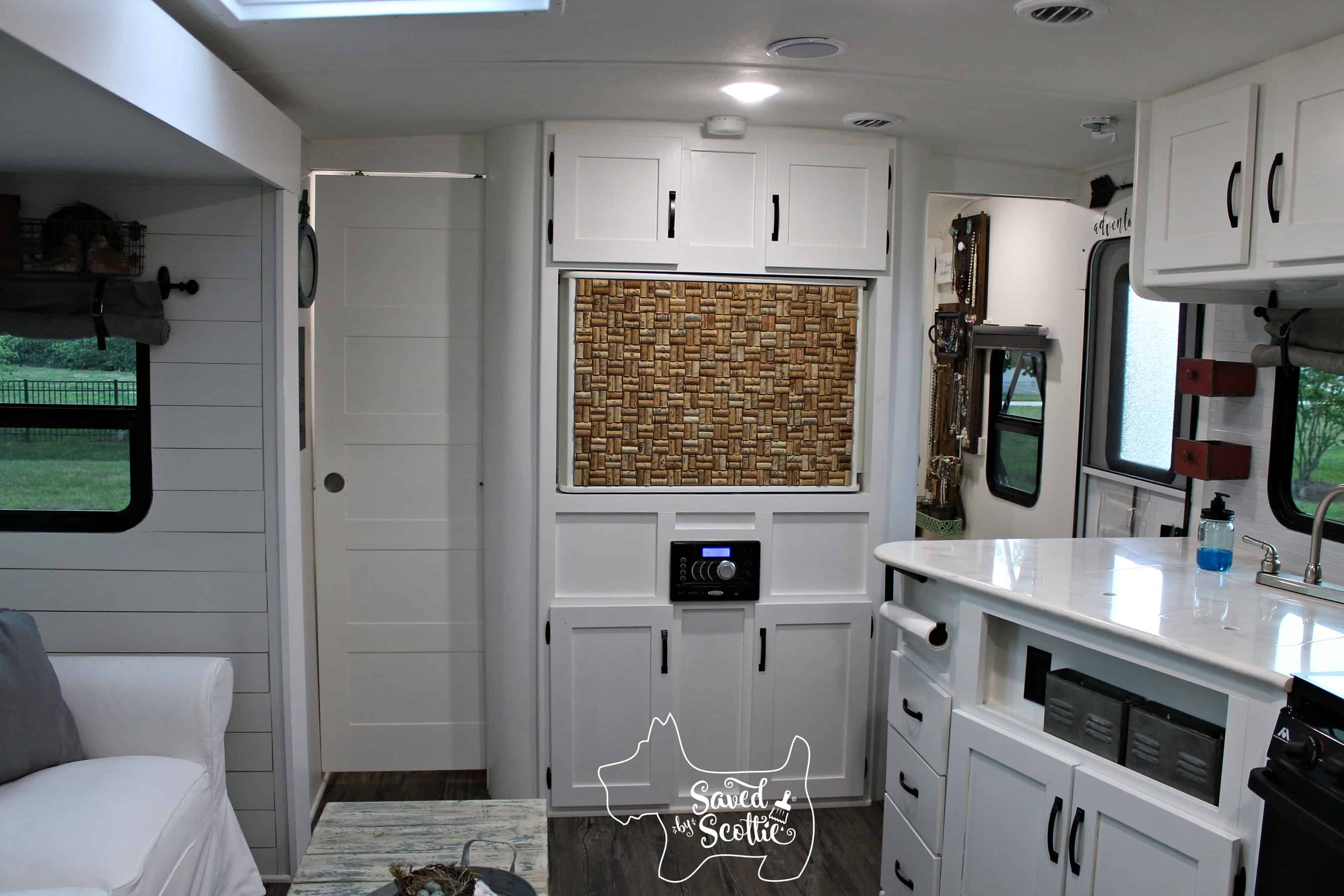 rv remodel after cork board wall