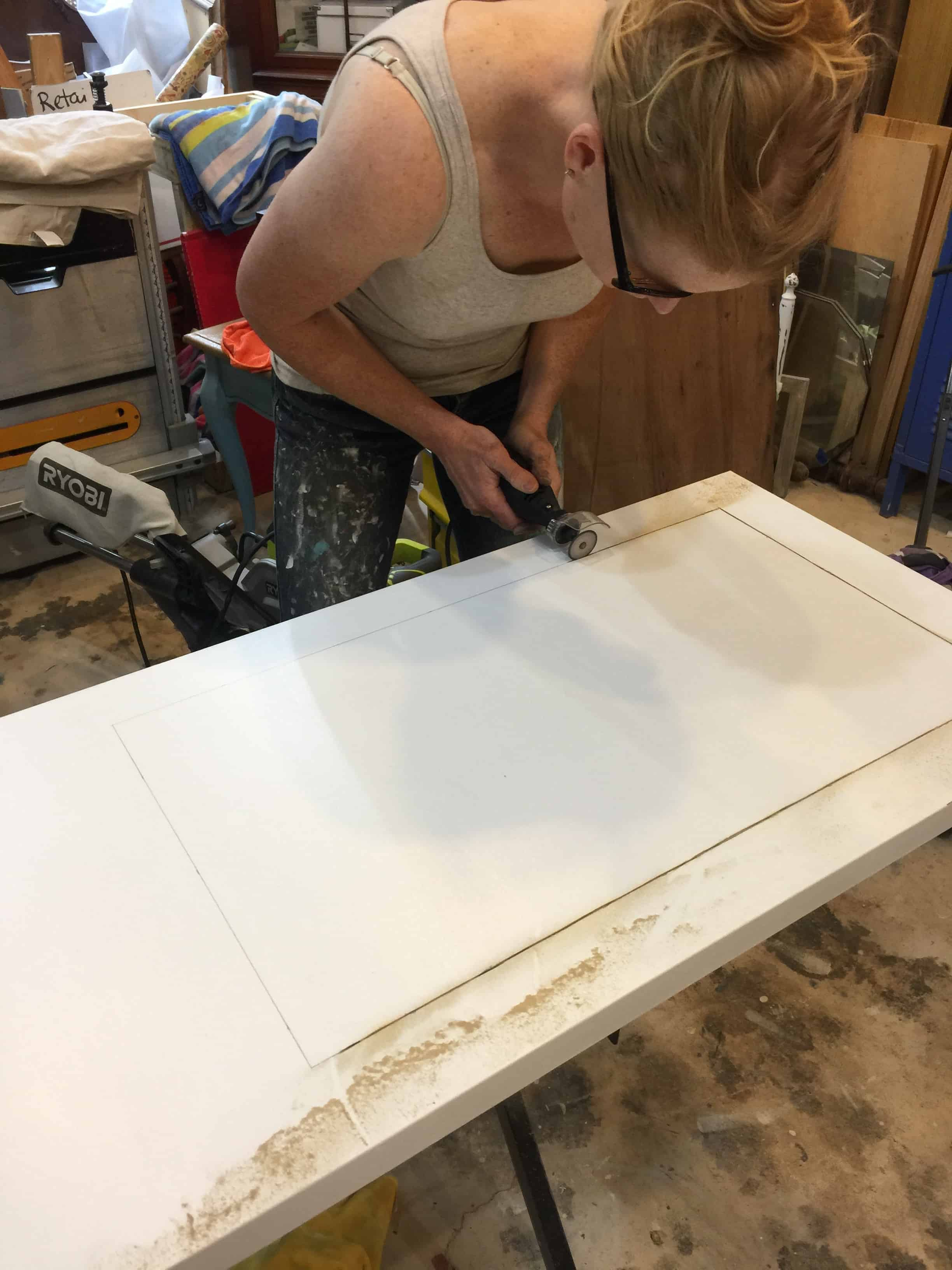 Saved by Scottie rv remodel door build cutting out window with Dremel
