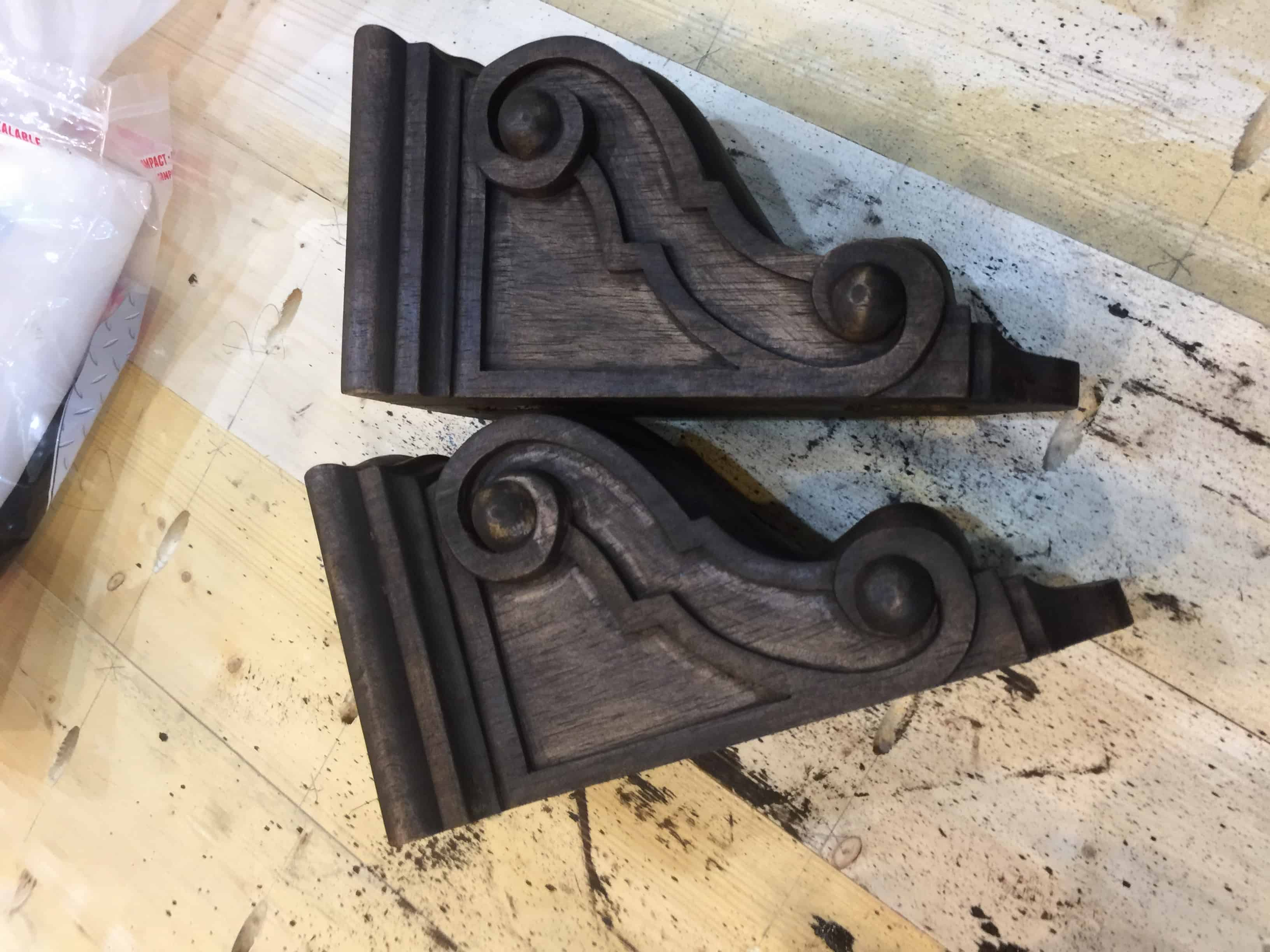 Saved by Scottie corbels and countertops after stain