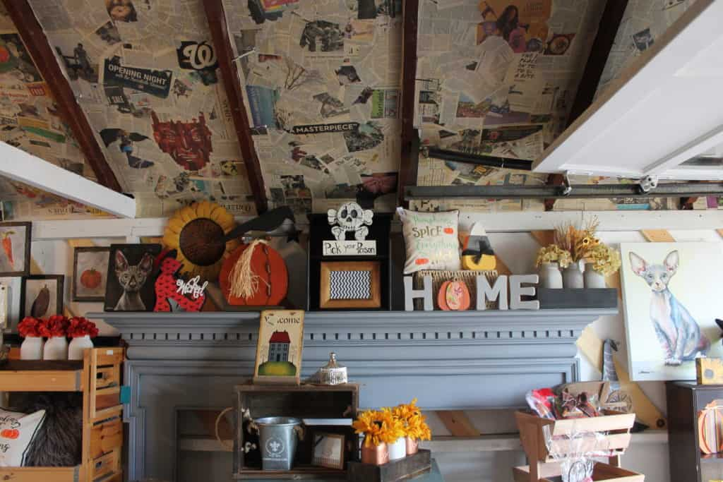 Saved by Scottie The Painted Pig opening day garage ceiling and mantle