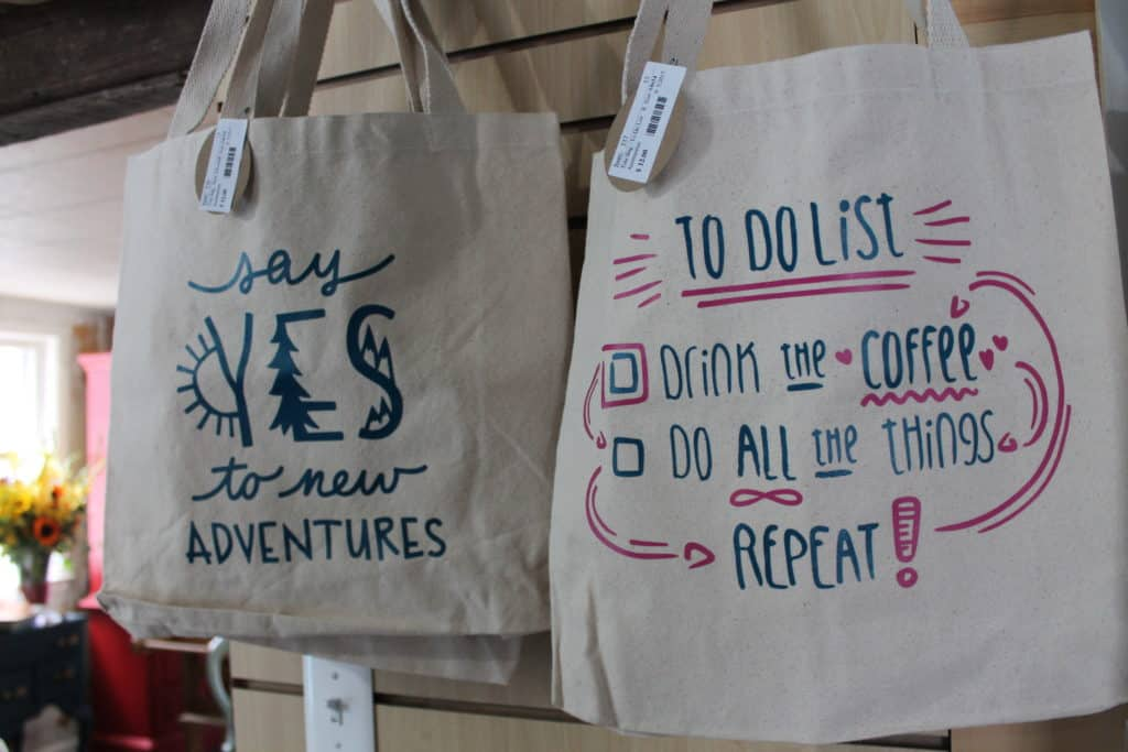 Saved by Scottie The Painted Pig opening day more totebags