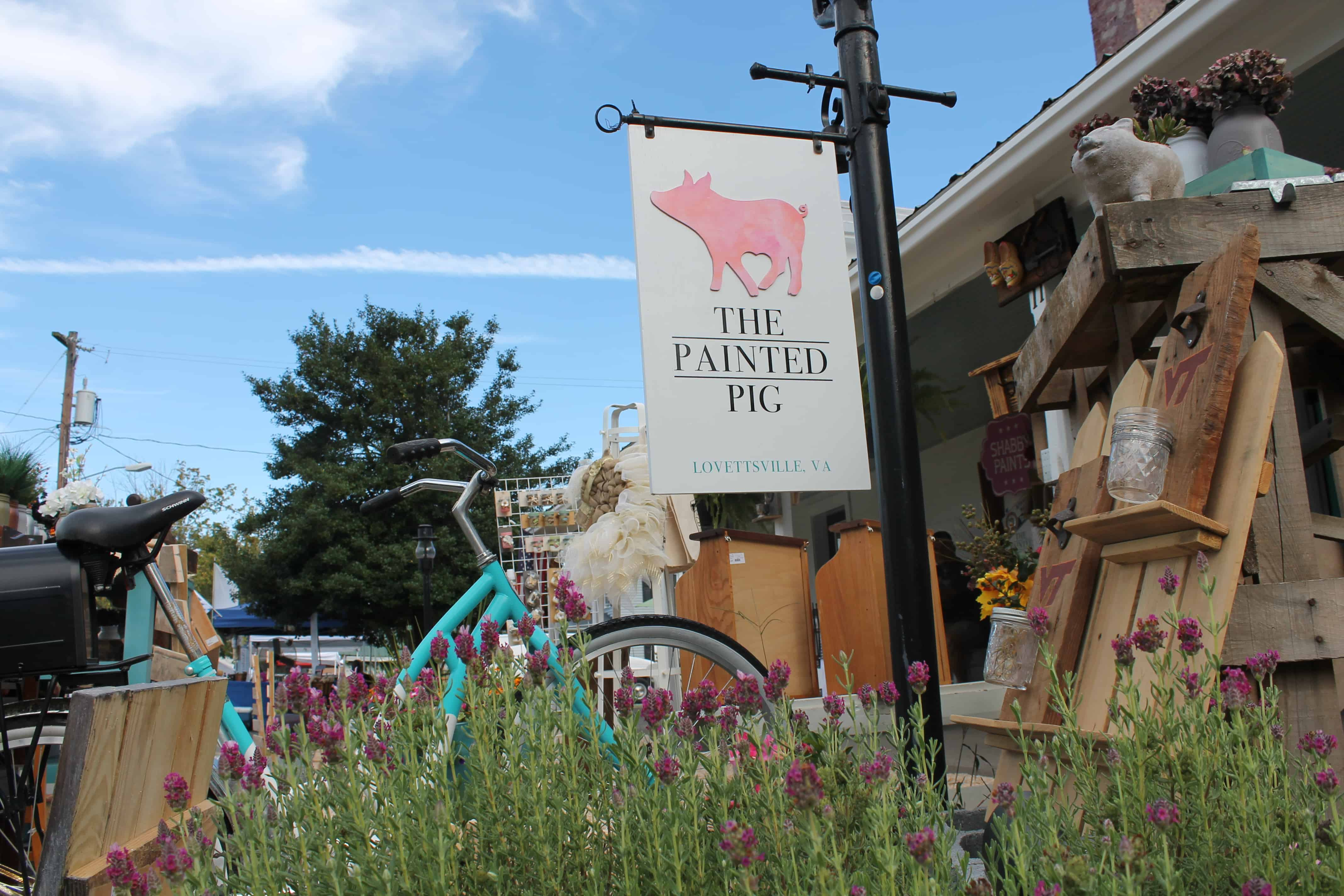 Saved by Scottie The Painted Pig opening day sign and bike