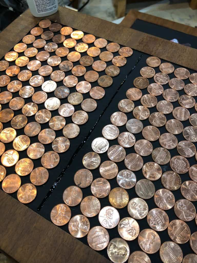 a picture of the glue line made to adhere the pennies.