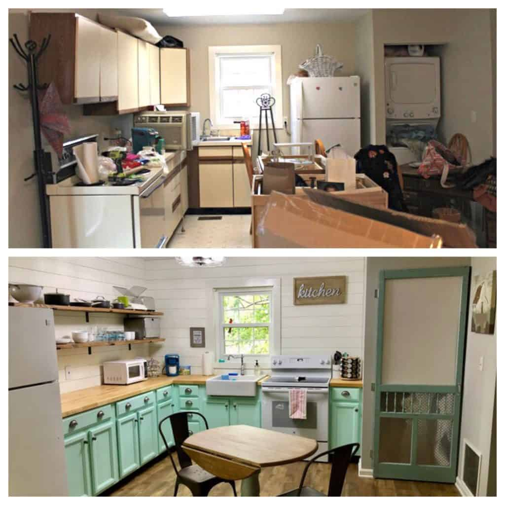 top image is dated kitchen. bottom image is updated finished farm house style kitchen