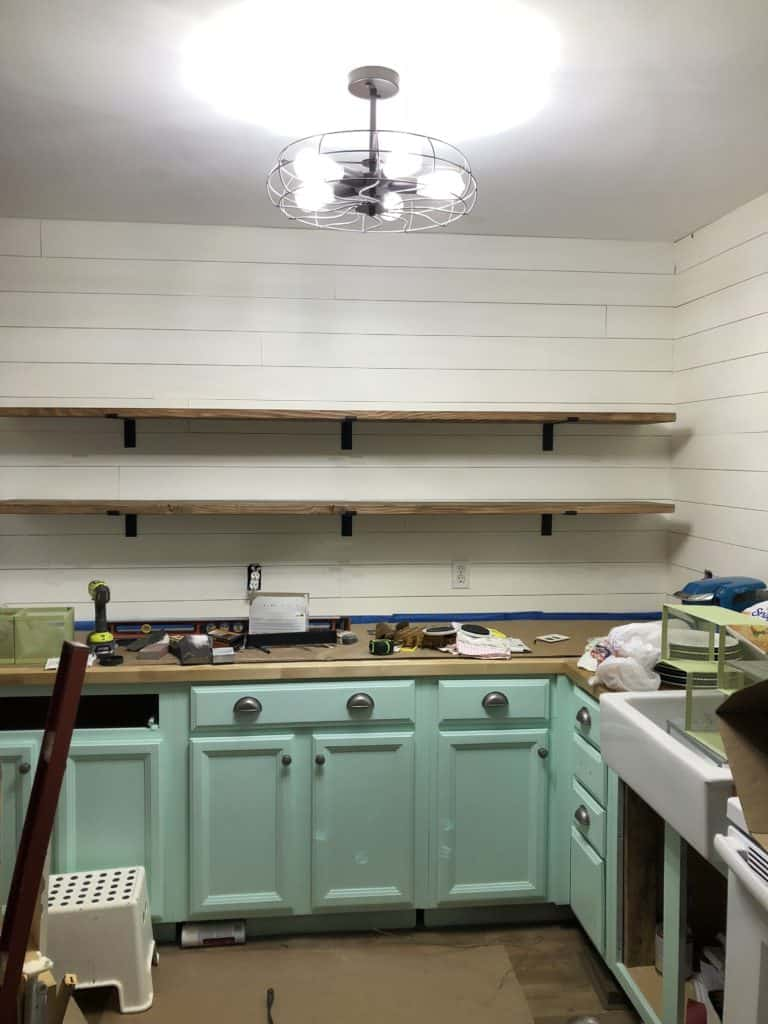 updated farmhouse kitchen shelving installation