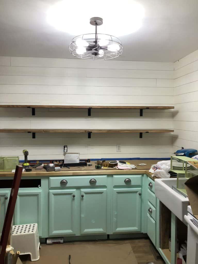 updated farmhouse kitchen shelving installation