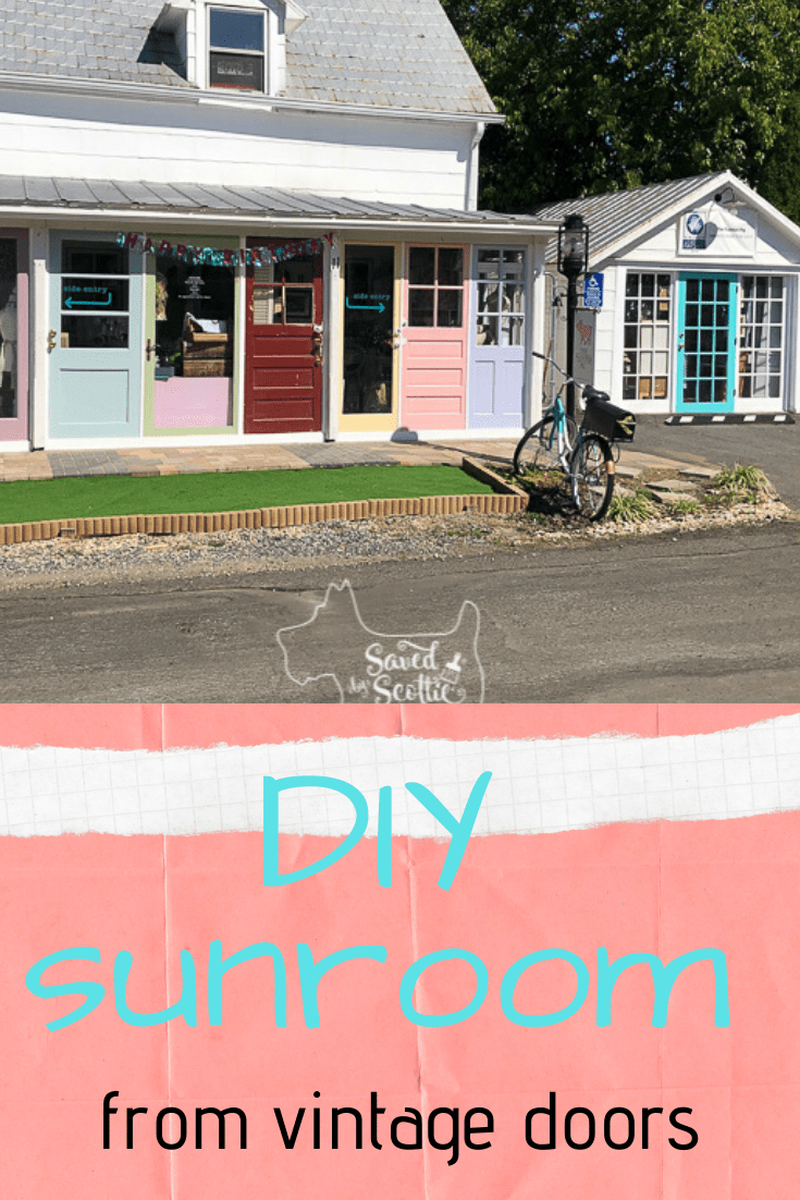 pinnable image of a diy sunroom made from colorful vintage doors with a stone walkway, astroturf, and a   bicycle mailbox out front