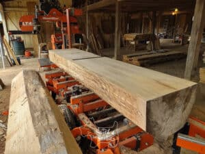 band saw with saw mill and large log in workshop setting