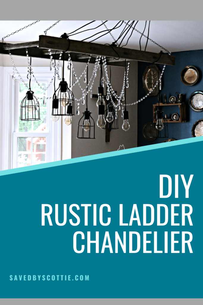 pinnable image for diy rustic ladder chandelier post