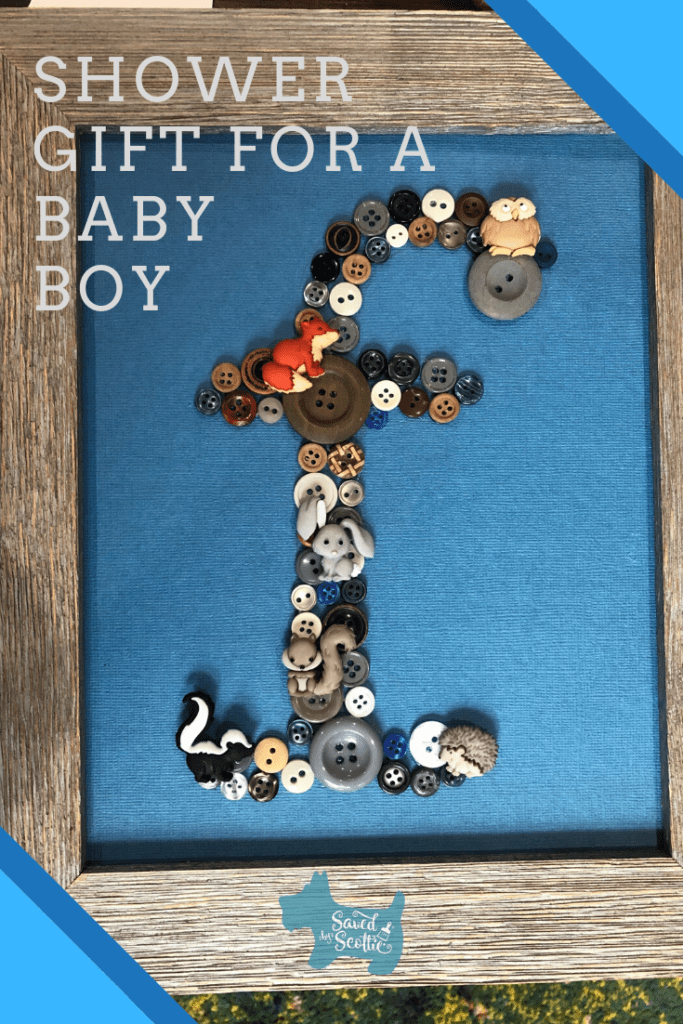 pinnable image of lower case f made with glued buttons and baby animal accent buttons on a blue background with a wood frame.