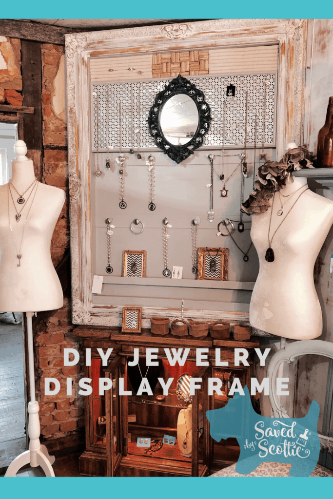 pinnable image leading to post about diy jewelry display