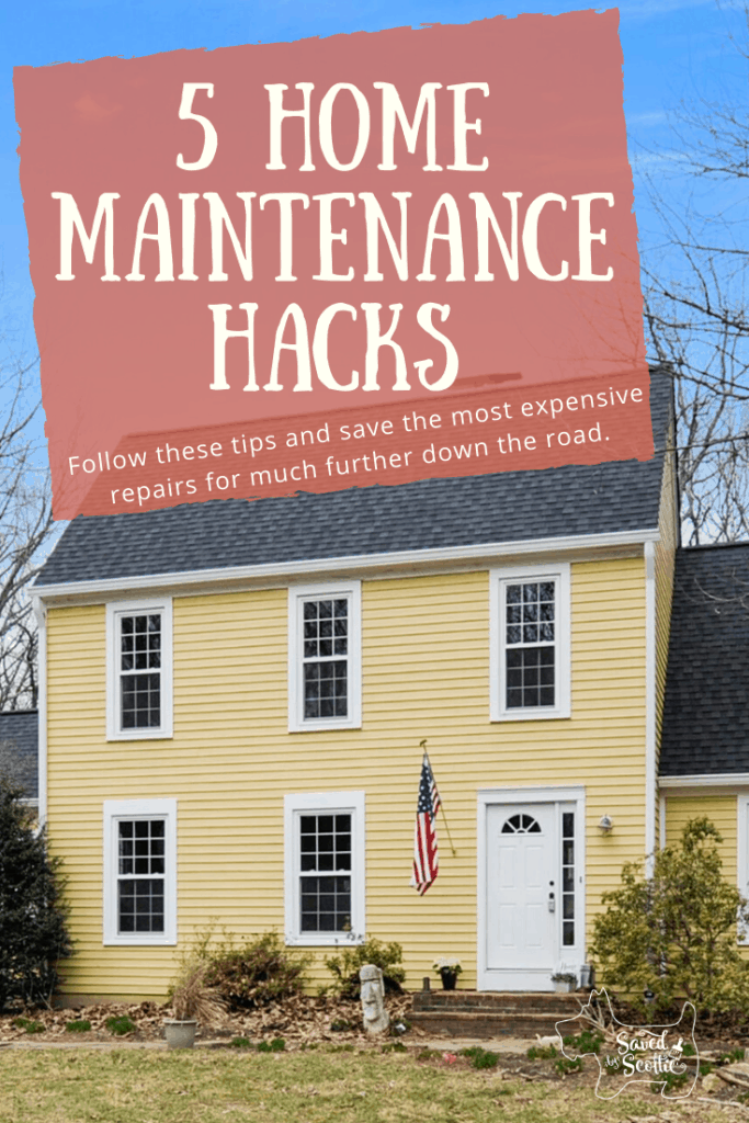 pinnable image for 5 home maintenance hacks blog post showing image and blog post title in front of yellow home with flag and easter island head out front.