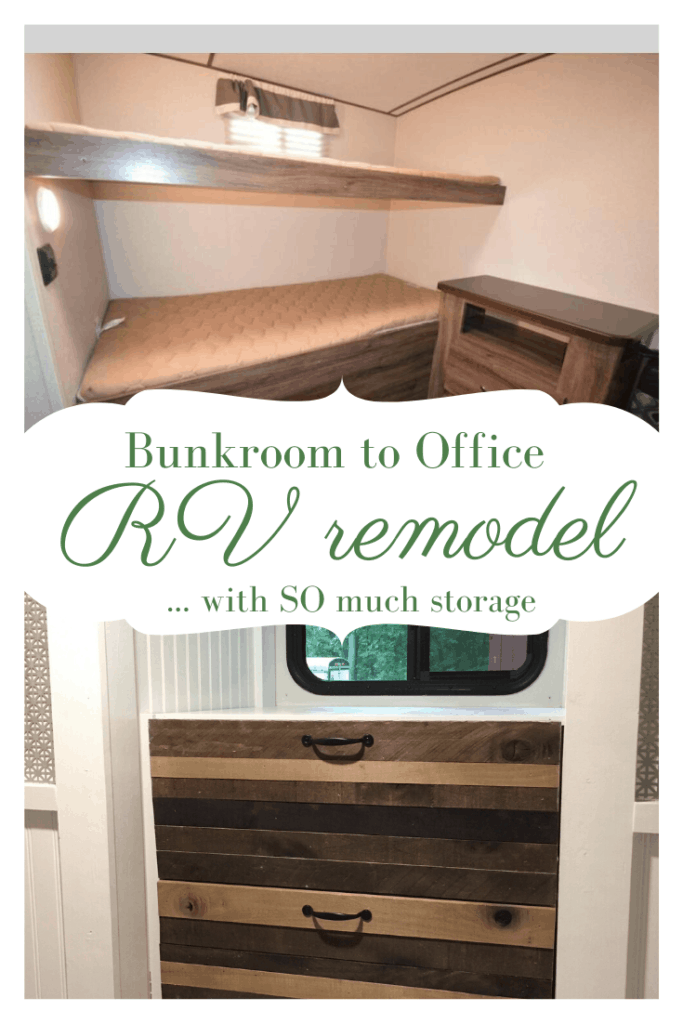 pinnable image of bunkroom before and storage after rv remodel
