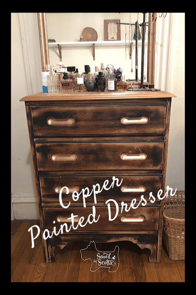 a pinnable image of the finished copper painted dresser.