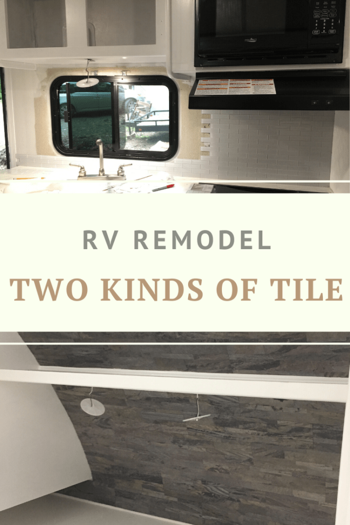 pinnable image linking to the blog post about two kinds of tile in an rv remodel