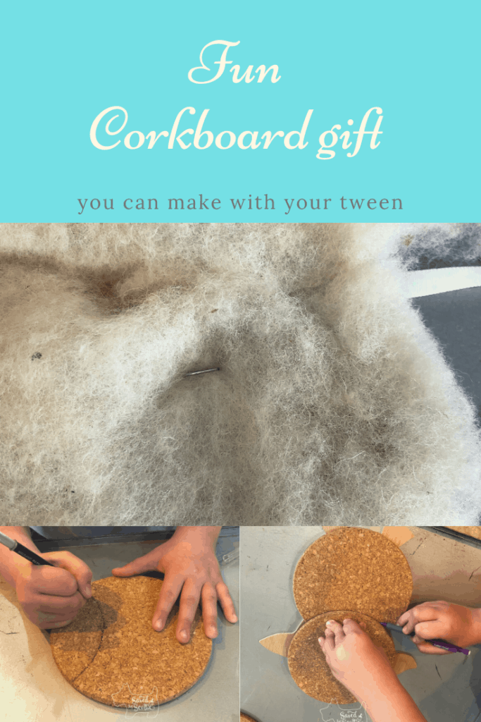 pinnable image of corkboard BFF gift showing creation steps.