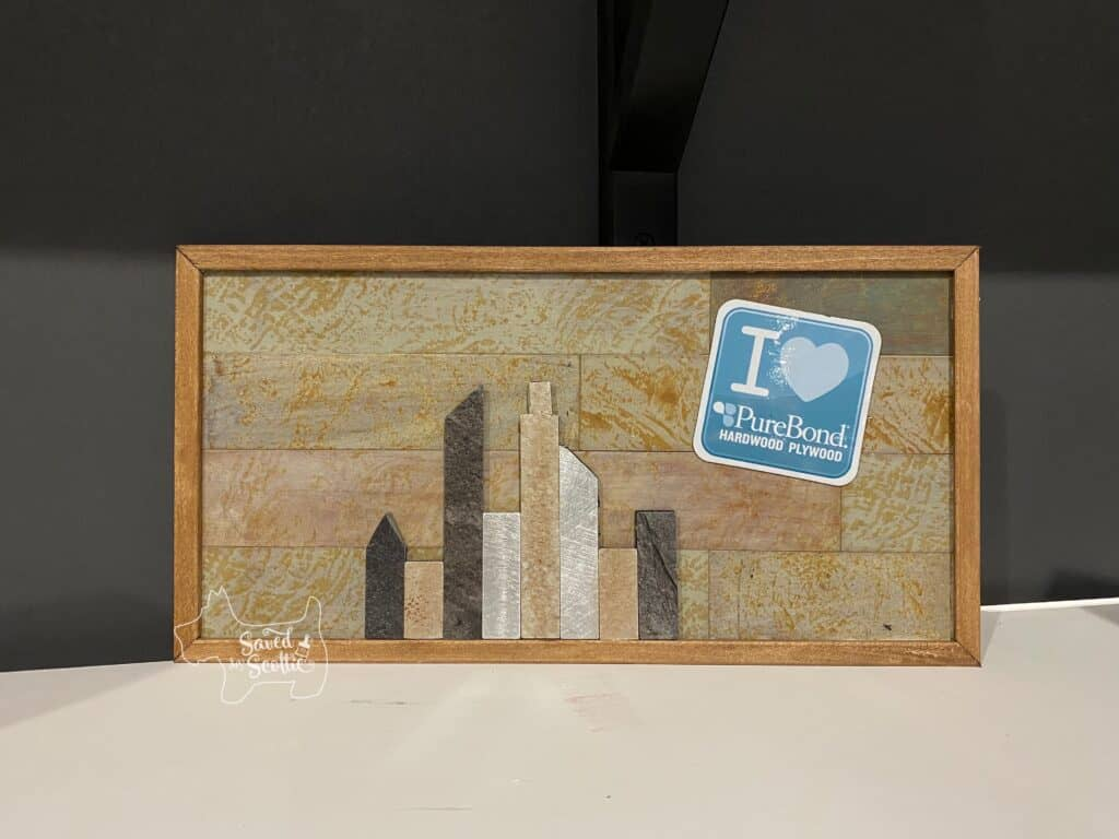 Finished Skyline art project from a Home Show Make It Take It workshop.