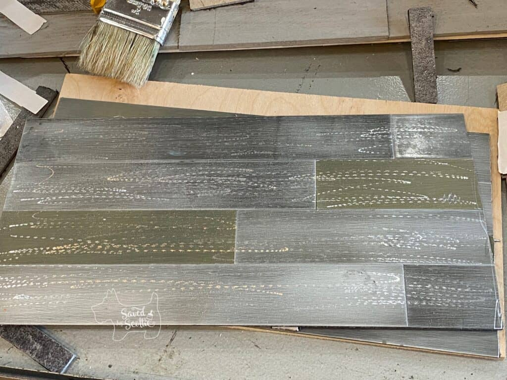 reclaimed metal tile with random rotary tool sander marks