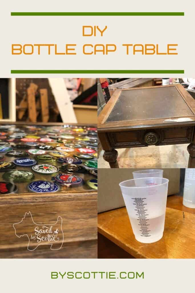 pinnable image of DIY bottle cap table using epoxy resin with various steps shown.