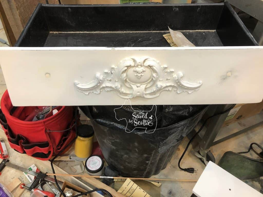 bombay chest drawer with center moulding painted white