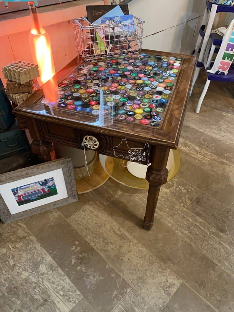 bottle cap table in place at The Painted Pig in Lovettsville, VA