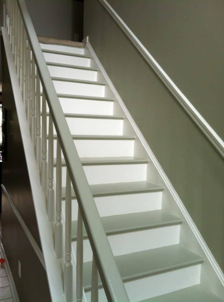 finished painted steps from a side angle