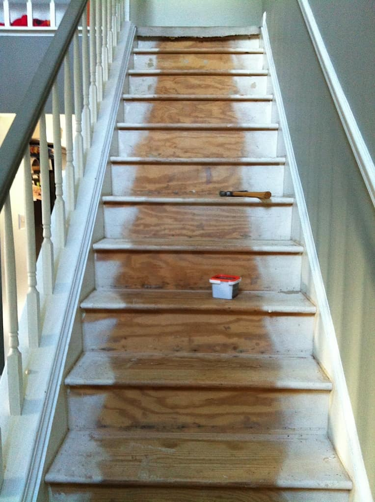 full view of steps after carpet removed and area vacuumed several times.