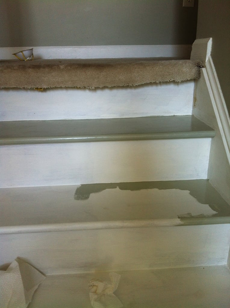 painted steps in process. Top step fully painted and second step in process of being cut in.