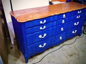dresser painted cobalt blue with stained cherry top