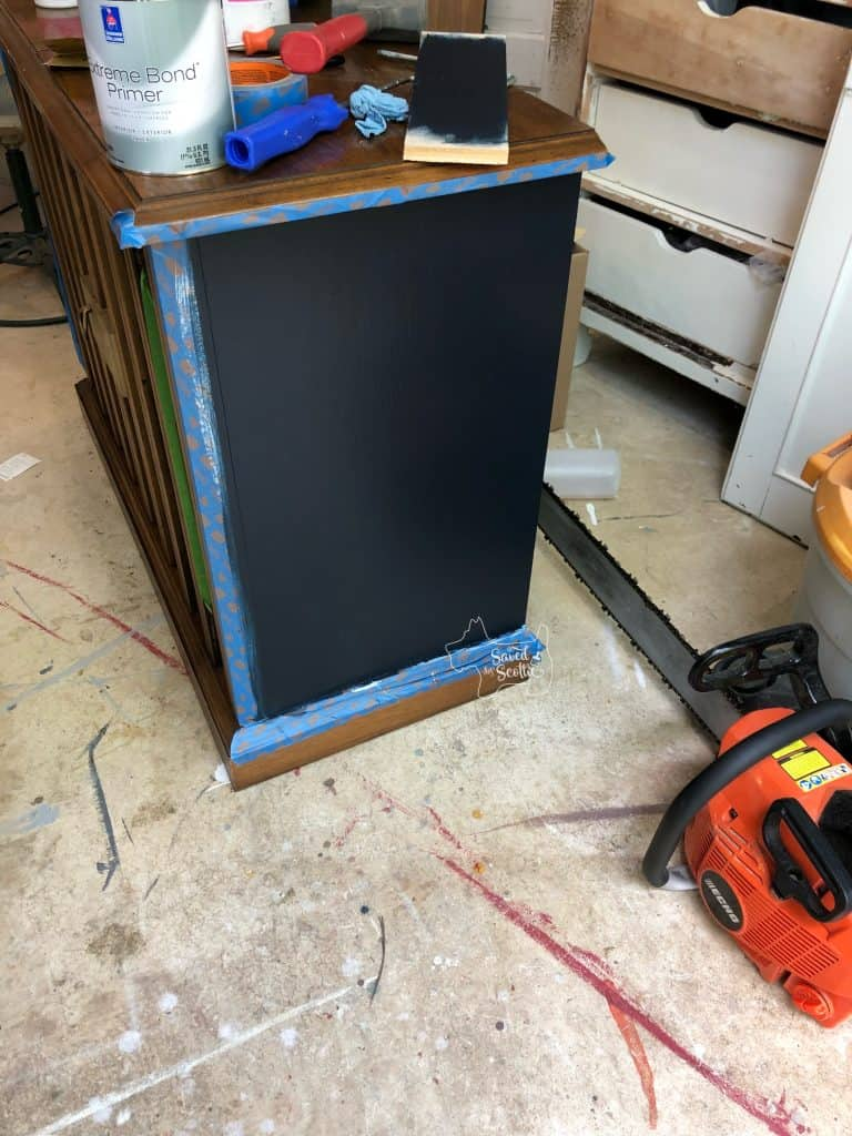 side of server with second coat of paint added.