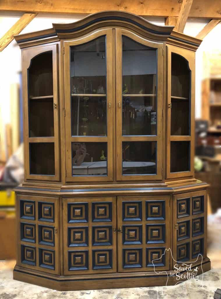 China cabinet of painted dining set complete
