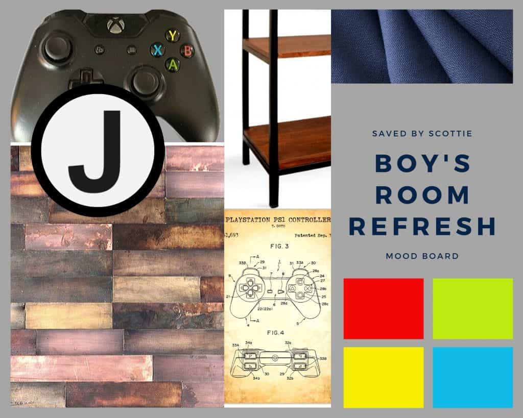 mood board showing elements of inspiration for this boy bedroom refresh.