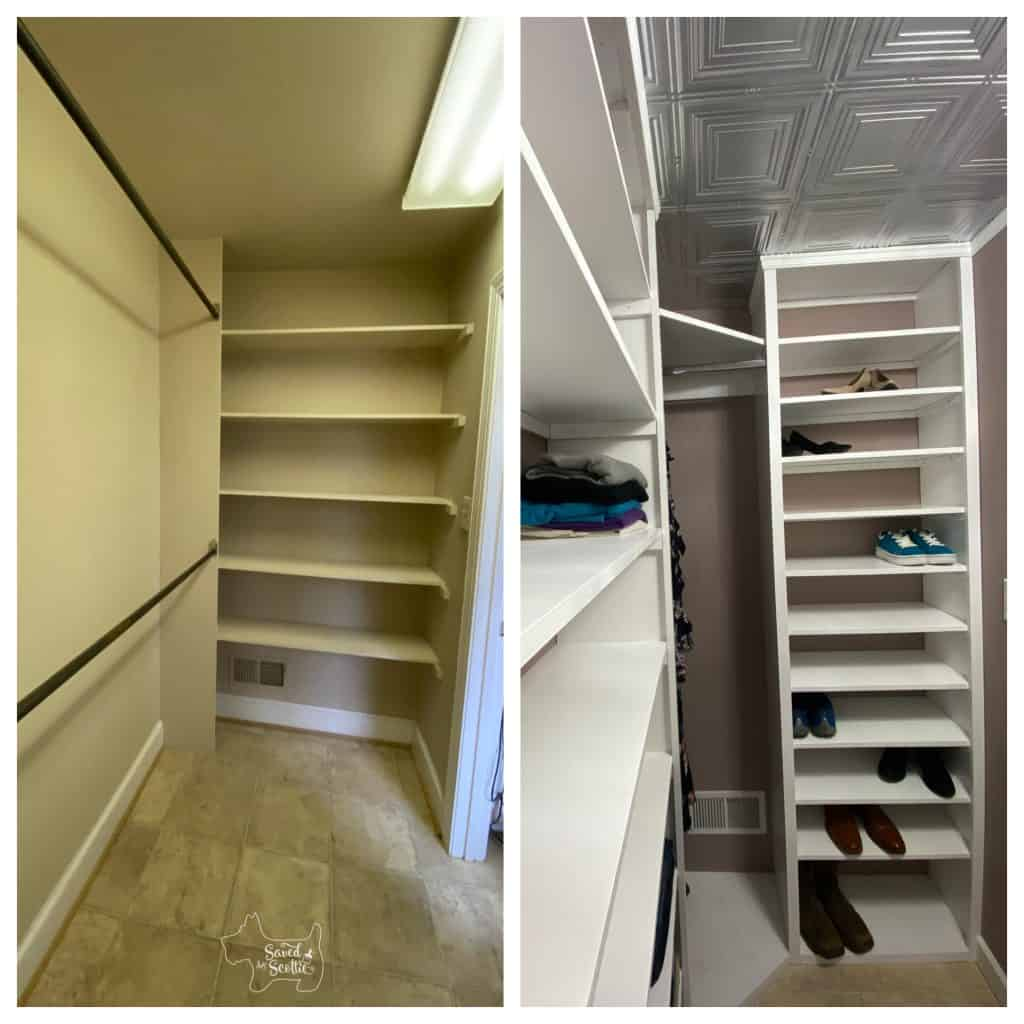 before and after shot of closet makeover right wall